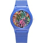 Leaves Tropical Jungle Pattern Round Plastic Sport Watch (S) Front