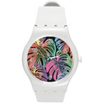 Leaves Tropical Jungle Pattern Round Plastic Sport Watch (M) Front