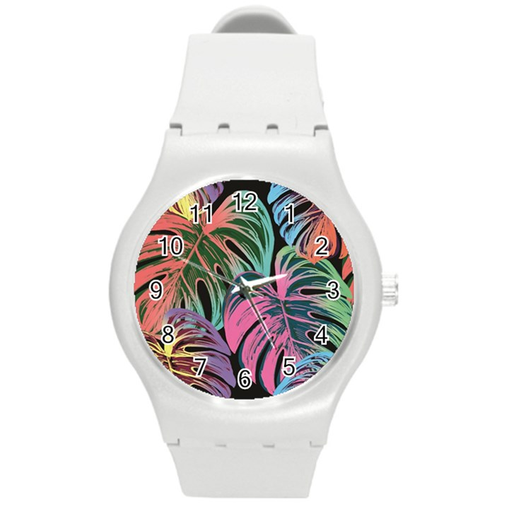 Leaves Tropical Jungle Pattern Round Plastic Sport Watch (M)