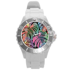 Leaves Tropical Jungle Pattern Round Plastic Sport Watch (l)