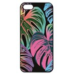 Leaves Tropical Jungle Pattern Apple iPhone 5 Seamless Case (Black) Front