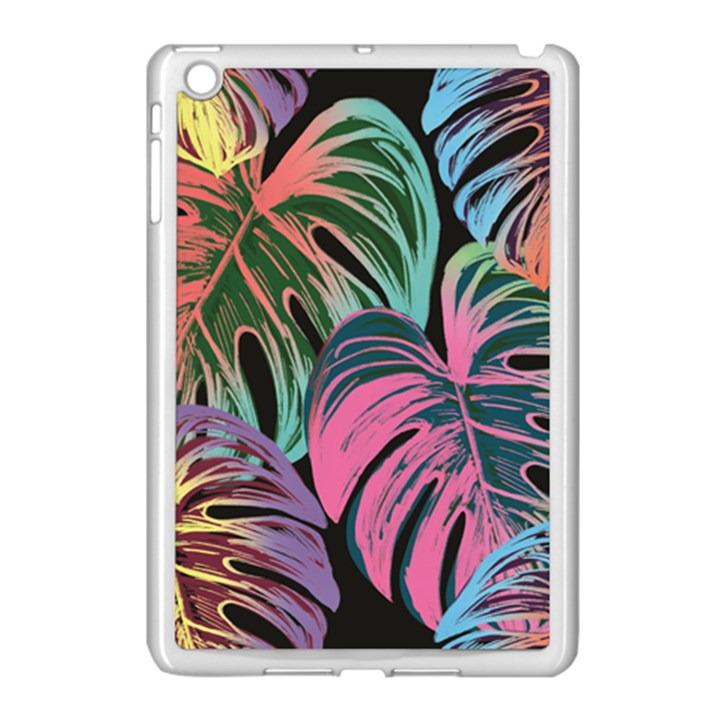 Leaves Tropical Jungle Pattern Apple iPad Mini Case (White)