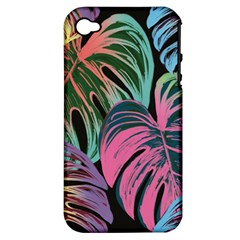 Leaves Tropical Jungle Pattern Apple Iphone 4/4s Hardshell Case (pc+silicone) by Nexatart