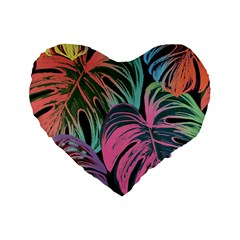Leaves Tropical Jungle Pattern Standard 16  Premium Heart Shape Cushions by Nexatart