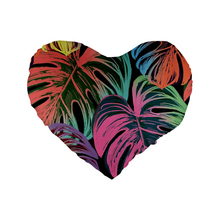 Leaves Tropical Jungle Pattern Standard 16  Premium Heart Shape Cushions