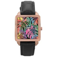 Leaves Tropical Jungle Pattern Rose Gold Leather Watch