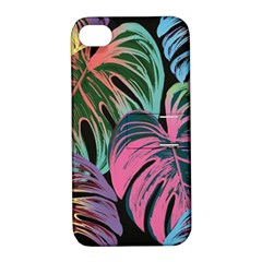 Leaves Tropical Jungle Pattern Apple Iphone 4/4s Hardshell Case With Stand