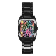 Leaves Tropical Jungle Pattern Stainless Steel Barrel Watch