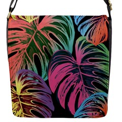 Leaves Tropical Jungle Pattern Flap Closure Messenger Bag (s)