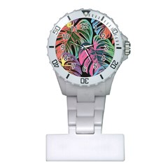 Leaves Tropical Jungle Pattern Plastic Nurses Watch