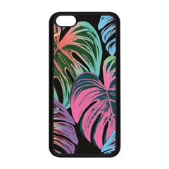 Leaves Tropical Jungle Pattern Apple Iphone 5c Seamless Case (black)