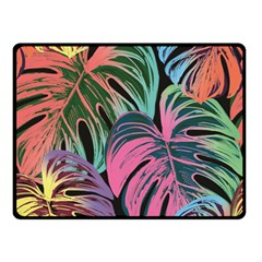Leaves Tropical Jungle Pattern Double Sided Fleece Blanket (small)