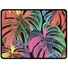 Leaves Tropical Jungle Pattern Double Sided Fleece Blanket (large)