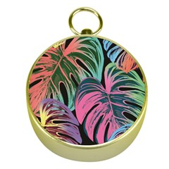 Leaves Tropical Jungle Pattern Gold Compasses
