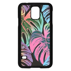 Leaves Tropical Jungle Pattern Samsung Galaxy S5 Case (black) by Nexatart
