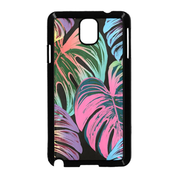 Leaves Tropical Jungle Pattern Samsung Galaxy Note 3 Neo Hardshell Case (Black)
