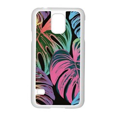 Leaves Tropical Jungle Pattern Samsung Galaxy S5 Case (white) by Nexatart