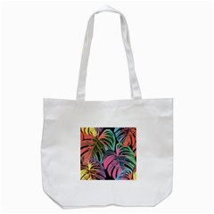 Leaves Tropical Jungle Pattern Tote Bag (white) by Nexatart