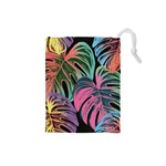 Leaves Tropical Jungle Pattern Drawstring Pouch (Small) Front