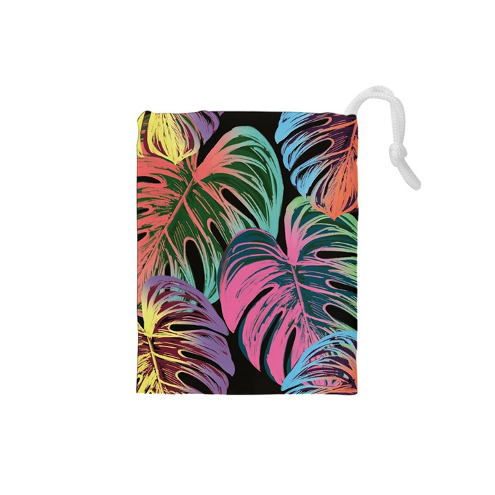 Leaves Tropical Jungle Pattern Drawstring Pouch (Small)
