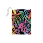 Leaves Tropical Jungle Pattern Drawstring Pouch (Small) Back