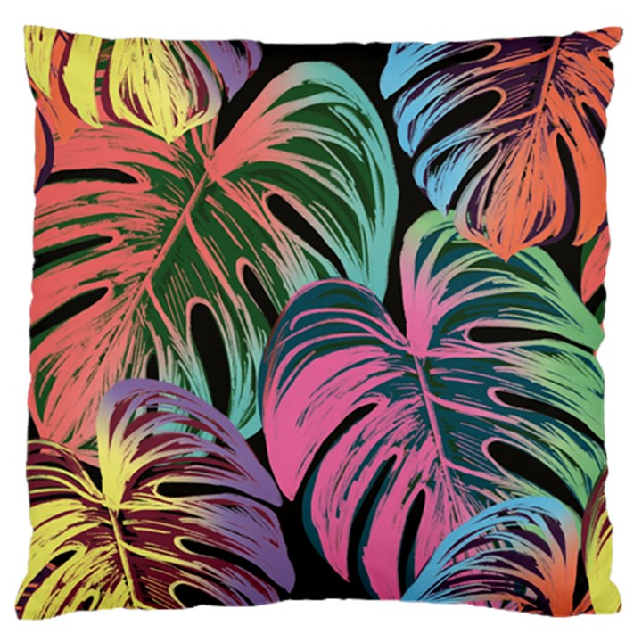 Leaves Tropical Jungle Pattern Large Flano Cushion Case (One Side)