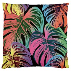 Leaves Tropical Jungle Pattern Large Flano Cushion Case (two Sides)