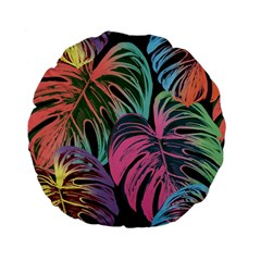 Leaves Tropical Jungle Pattern Standard 15  Premium Flano Round Cushions