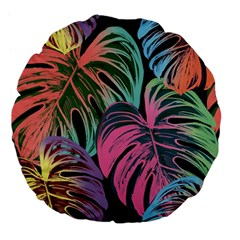 Leaves Tropical Jungle Pattern Large 18  Premium Flano Round Cushions
