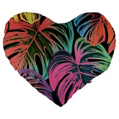 Leaves Tropical Jungle Pattern Large 19  Premium Flano Heart Shape Cushions