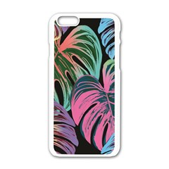 Leaves Tropical Jungle Pattern Apple Iphone 6/6s White Enamel Case by Nexatart