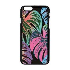 Leaves Tropical Jungle Pattern Apple Iphone 6/6s Black Enamel Case