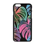 Leaves Tropical Jungle Pattern Apple iPhone 6/6S Black Enamel Case Front