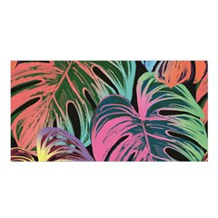 Leaves Tropical Jungle Pattern Satin Shawl