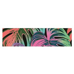 Leaves Tropical Jungle Pattern Satin Scarf (oblong)