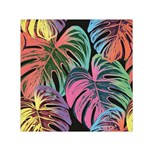 Leaves Tropical Jungle Pattern Small Satin Scarf (Square) Front