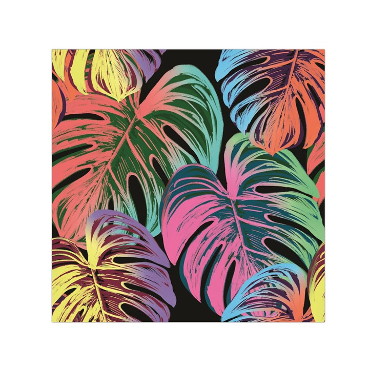 Leaves Tropical Jungle Pattern Small Satin Scarf (Square)
