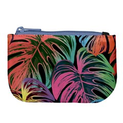 Leaves Tropical Jungle Pattern Large Coin Purse