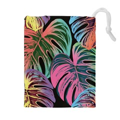 Leaves Tropical Jungle Pattern Drawstring Pouch (xl)