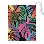 Leaves Tropical Jungle Pattern Drawstring Pouch (XXL) Front