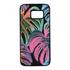 Leaves Tropical Jungle Pattern Samsung Galaxy S7 Black Seamless Case by Nexatart