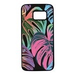 Leaves Tropical Jungle Pattern Samsung Galaxy S7 Black Seamless Case Front