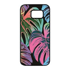 Leaves Tropical Jungle Pattern Samsung Galaxy S7 Edge Black Seamless Case