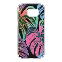 Leaves Tropical Jungle Pattern Samsung Galaxy S7 Edge White Seamless Case by Nexatart