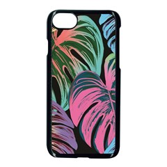 Leaves Tropical Jungle Pattern Apple Iphone 7 Seamless Case (black)