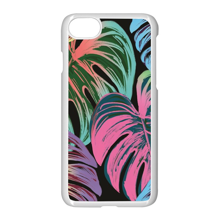 Leaves Tropical Jungle Pattern Apple iPhone 7 Seamless Case (White)