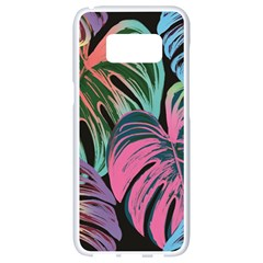Leaves Tropical Jungle Pattern Samsung Galaxy S8 White Seamless Case