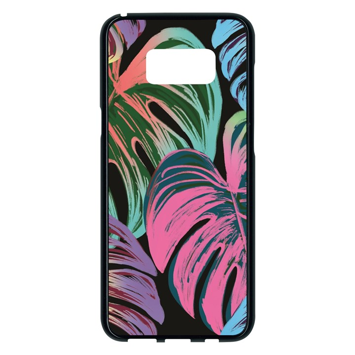 Leaves Tropical Jungle Pattern Samsung Galaxy S8 Plus Black Seamless Case