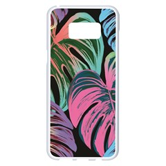 Leaves Tropical Jungle Pattern Samsung Galaxy S8 Plus White Seamless Case by Nexatart