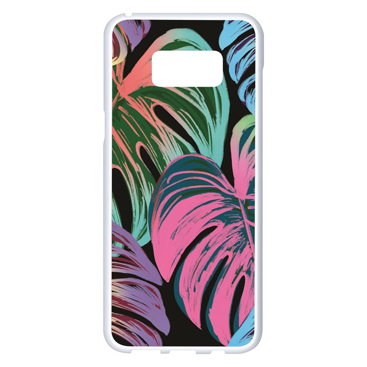 Leaves Tropical Jungle Pattern Samsung Galaxy S8 Plus White Seamless Case